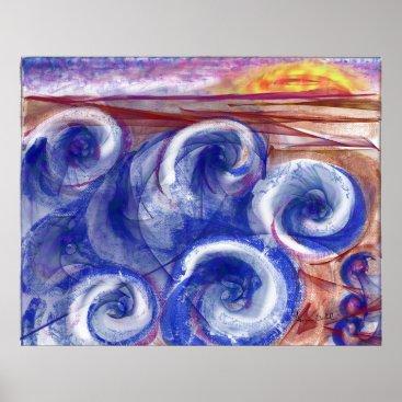 Contemporary print jewel tone seascape Europe
