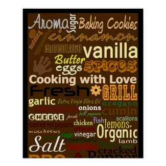 Cooking with Love Word-Art Poster