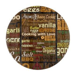 Cooking WordArt (Round) Glass Cutting Board