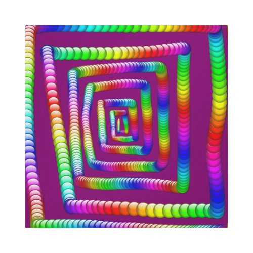 Cool Funky Rainbow Maze Rolling Marbles Design Canvas Print -