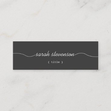 Cool Handwritten Script Simple Black Mini Mini Business Card