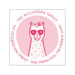 ❤️ Cool Llama | Round Family Name Return Address Self-inking Stamp
