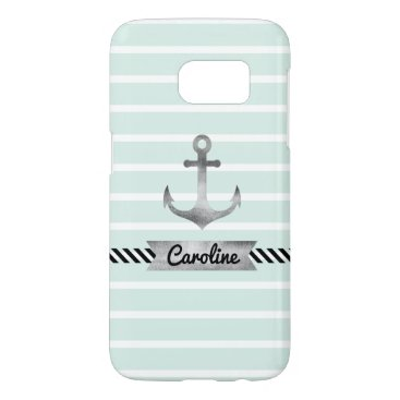 Cool Mint Stripes Watercolor Anchor Custom Samsung Galaxy S7 Case