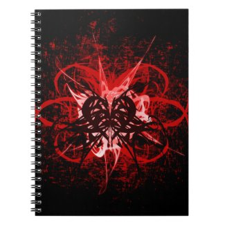 Cool Red and Black Tribal Heart Symbol Design Note Book