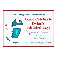 Cool Robot Birthday Party Invitations Red