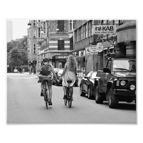 Copenhagen Lovers on Bicycles, Black and White. Photo Print