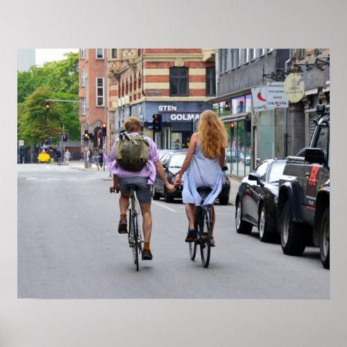 Copenhagen Lovers on Bicycles Poster