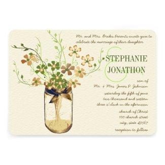 Copper Lime Olive Mason Jar Wild Flower Wedding Custom Announcements