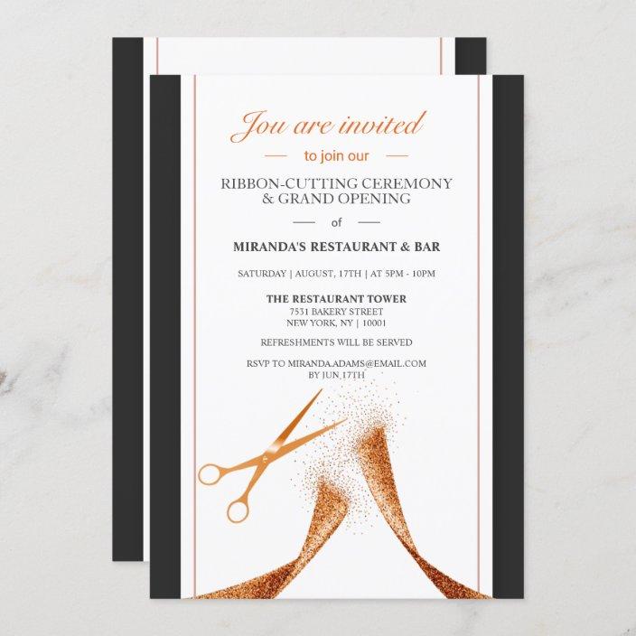 copper ribbon restaurant grand opening invitation zazzle com