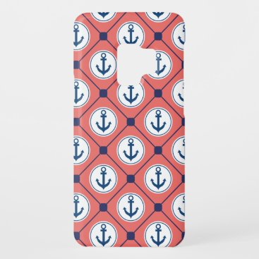 Coral Blue Nautical Anchor Pattern Case-Mate Samsung Galaxy S9 Case