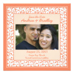 Coral Orange Peach Damask Photo Save the Date Personalized Invite