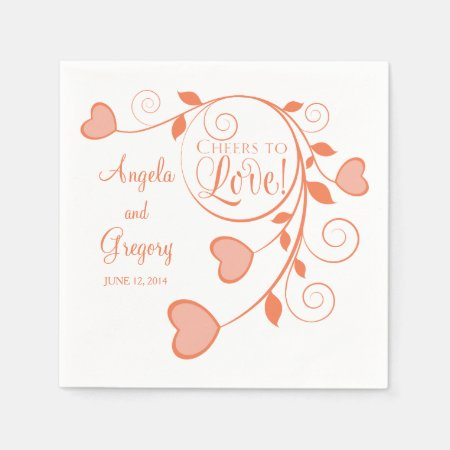 Coral Orange White Cheers to Love Heart Wedding Paper Napkins