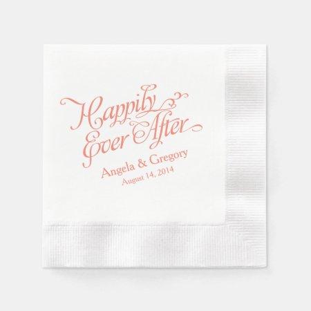 Coral Orange White Happily Ever After Wedding Disposable Napkins