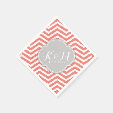 Coral Pink and White Chevron with Monogram Paper Napkin