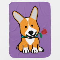 Corgi dog puppy Pembroke Welsh Valentine Rose Receiving Blanket