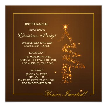 Corporate Golden Christmas Tree Lights Invitation