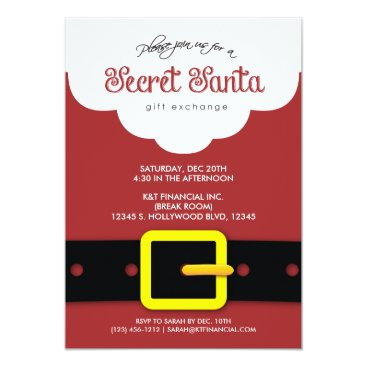 Corporate Secret Santa Gift Exchange Party Invitation