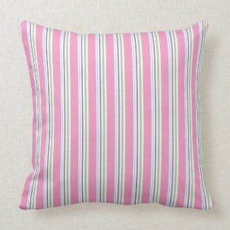 Cotton Candy Pink Green Aqua Purple Stripes Decor Throw Pillow