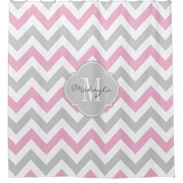 Cottoncandy Pink and Gray Chevron with Monogram Shower Curtain