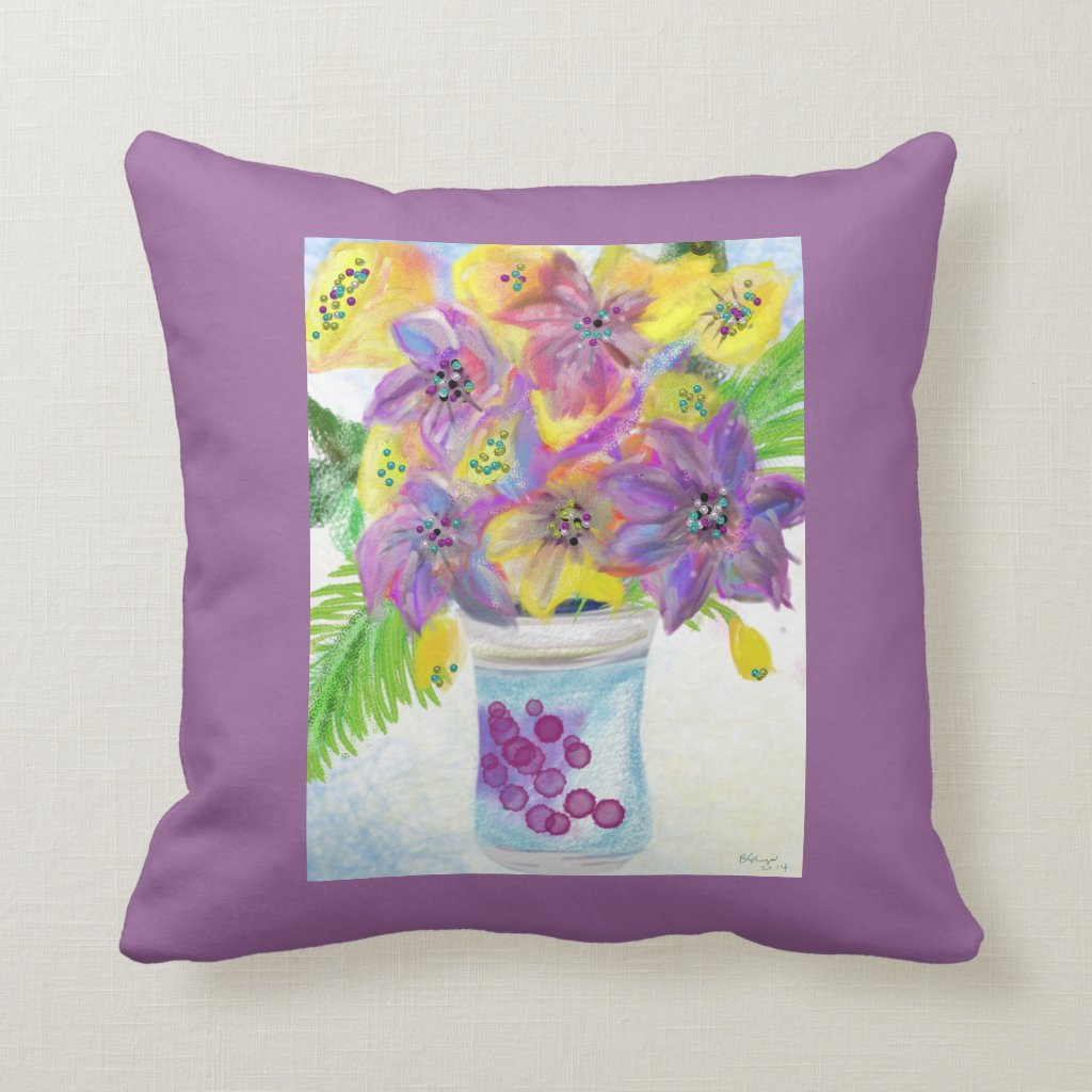 Couch Pillow Artist's Floral Expression of Joy