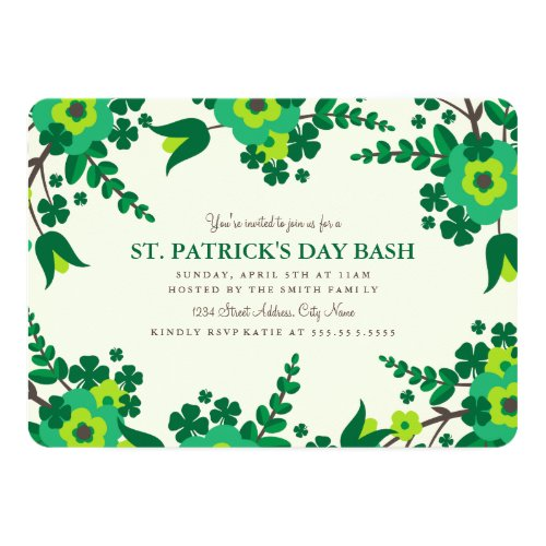 Country Flowers St. Patrick's Day Invite