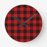 Country red plaid round wall clocks