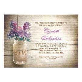 Country Rustic Mason Jar Bridal Shower Invitations