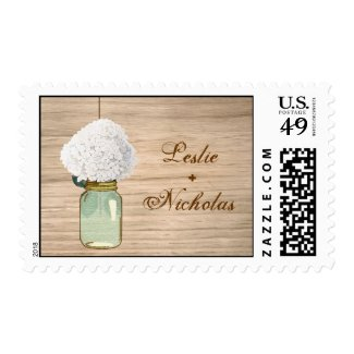 Country Rustic Mason Jar Hydrangea Wedding Stamps
