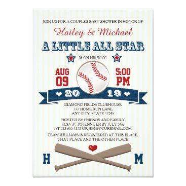 COUPLES ALL STAR BASEBALL BABY SHOWER INVITATION
