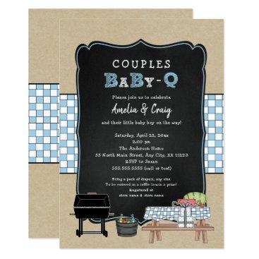 Couples Baby Q, boy BBQ baby shower Invitation
