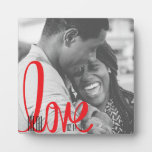 Couples Real Love Black & Red Typography Photo Plaque