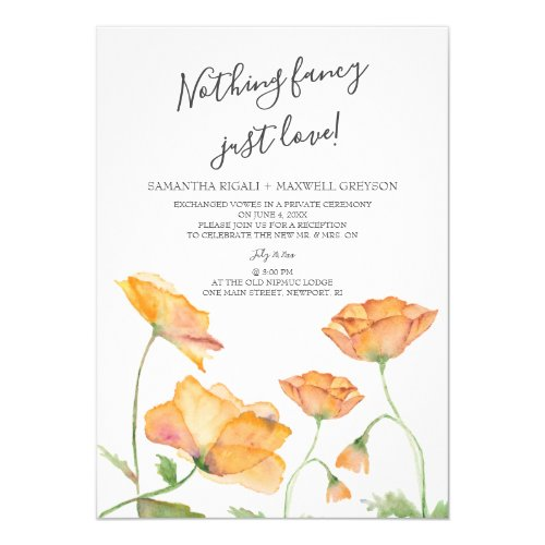 Couples Shower Poppies Watercolor Florals Invitation