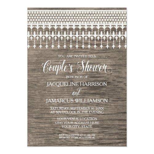Couples Shower Rustic Wooden Board Lace Typography Invitation