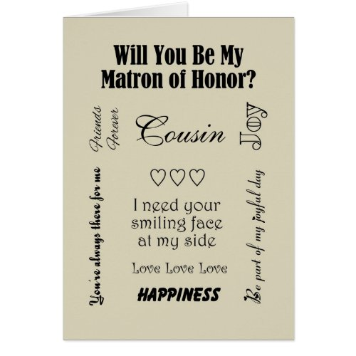 Cousin, Will You Be My Matron of Honor, Beige? Cards