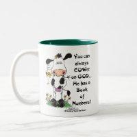 Cow and Ladybug COWnt on God Two-Tone Coffee Mug