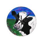 Cow, Farm, Animal, rural, hand painted calf. Round Wallclock