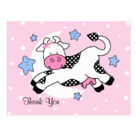 Cow Over Moon Baby Thank You Postcard