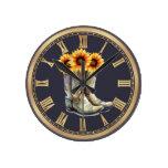 Cowboy Boots & Sunflowers Round Clock