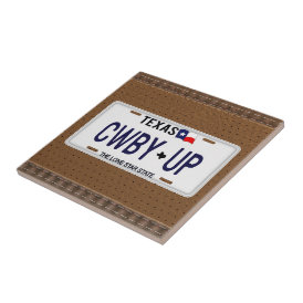 Cowboy Up!  CWBY UP Texas License Plate Ceramic Tile