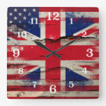 Crackle Paint | British American Flag Square Wall Clocks