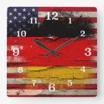 Crackle Paint | German American Flag Square Wallclocks