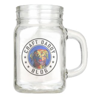 Craft Daddy Blog Merchandise Logo Mason Jar, with Handle