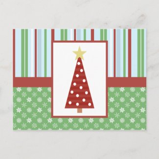 Craft Style Red Tree Holiday Postcard postcard