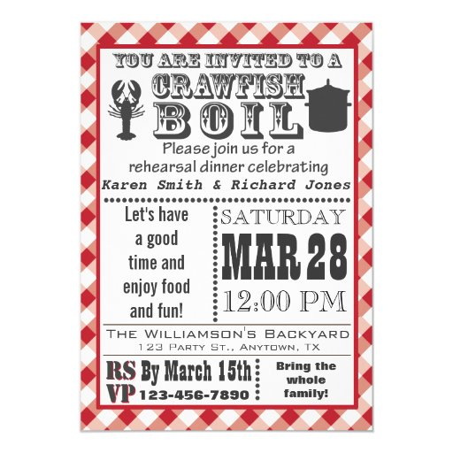 Crawfish Boil Rehearsal Dinner Party Invitation