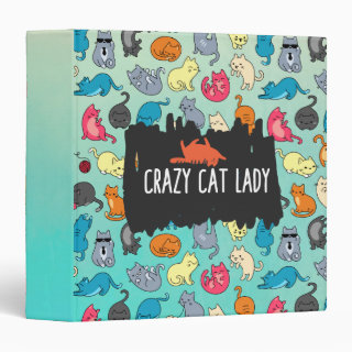 Crazy Cat Lady Cute and Playful Cat Pattern 3 Ring Binder