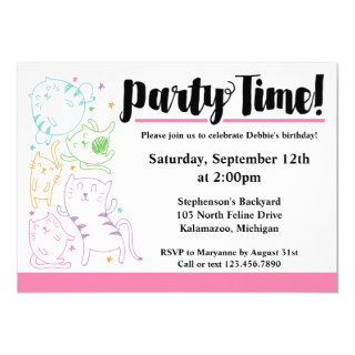 Crazy Cute Cats Birthday Party Custom Invitation