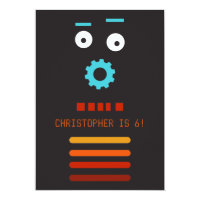 Crazy Robot Friends Party Invitation