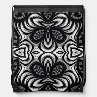 Crazy Zebra Pattern Fractal Drawstring Bag