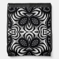 Zebra Fractal Pattern Drawstring Bag