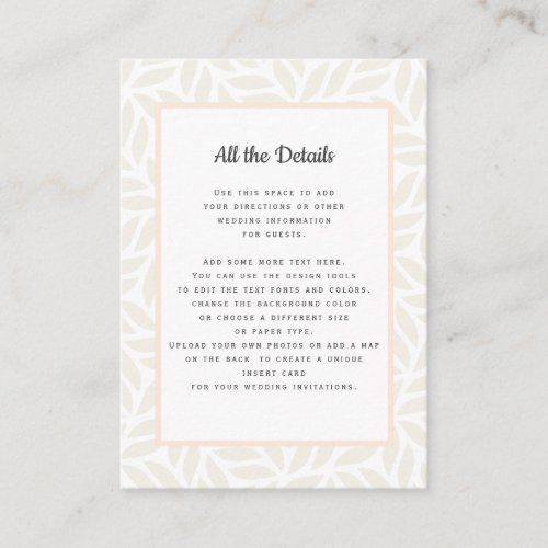 Cream abstract foliage  WEDDING Details Directions Enclosure Card